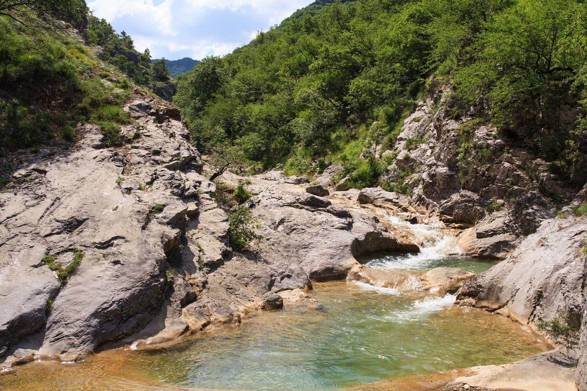 View of river in Val Rosandra, italy